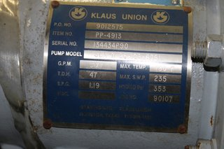 image for: Klaus Union Centrifugal Pump 50 GPM