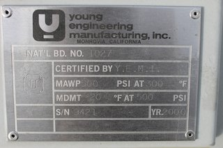 image for: Young Engineering Manufacturing Tank Model 40MBA-50 Size 40 Gal